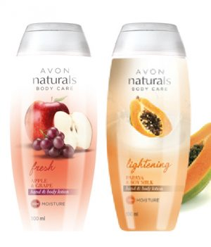 Avon Naturals Papaya-Soy Milk & Grape  Lotion (combo set)