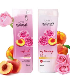 Avon Naturals Red Rose & Peach Body Lotion & Shower Gel (combo set)